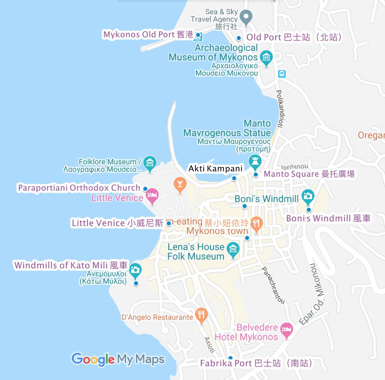 希臘米克諾斯 Hora 荷拉小鎮景點總整理 白色迷宮米克諾斯散步地圖