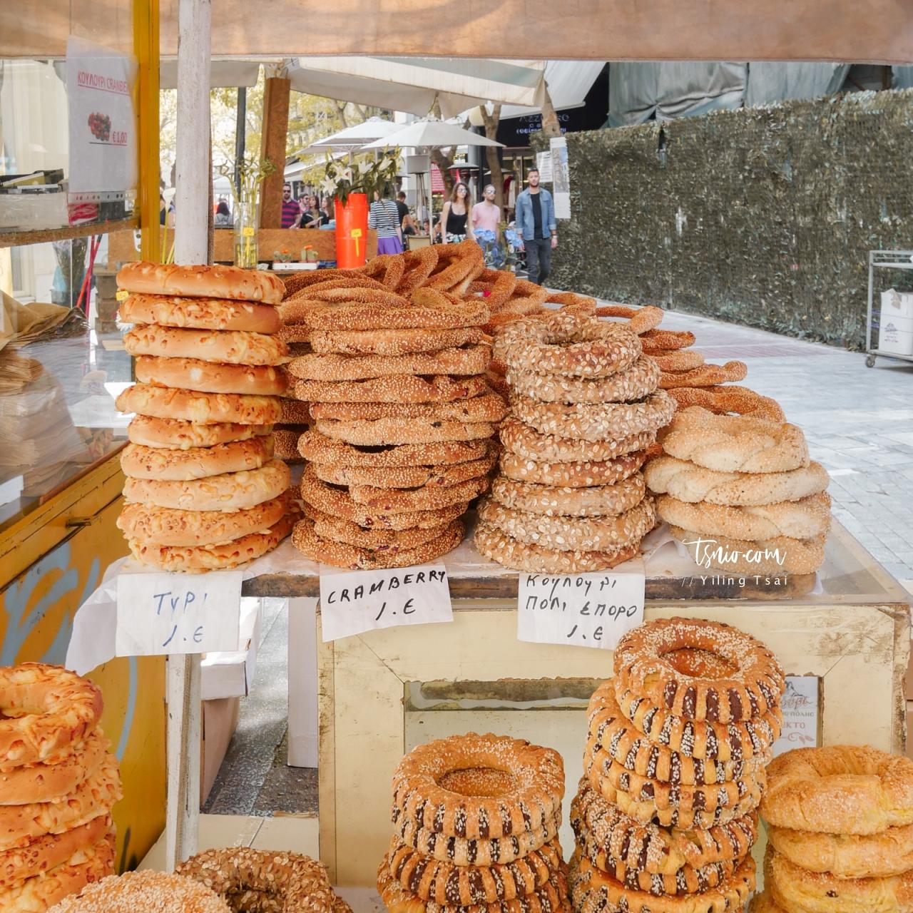 希臘傳統美食 Koulouri 希臘芝麻餅甜甜圈 雅典街頭小吃
