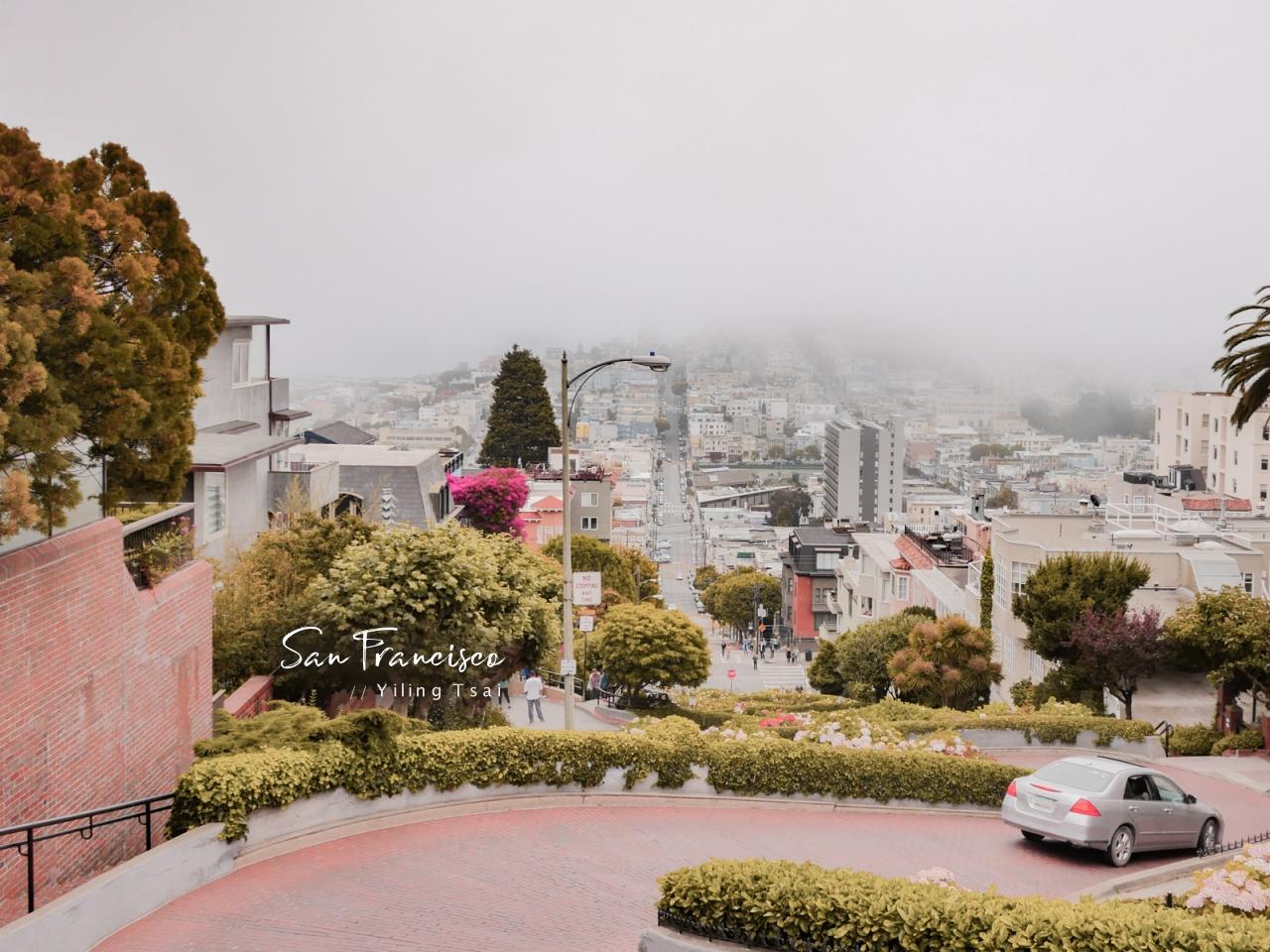 美國舊金山景點 九曲花街 Lombard Street 倫巴底街 九彎十八拐急轉彎斜坡